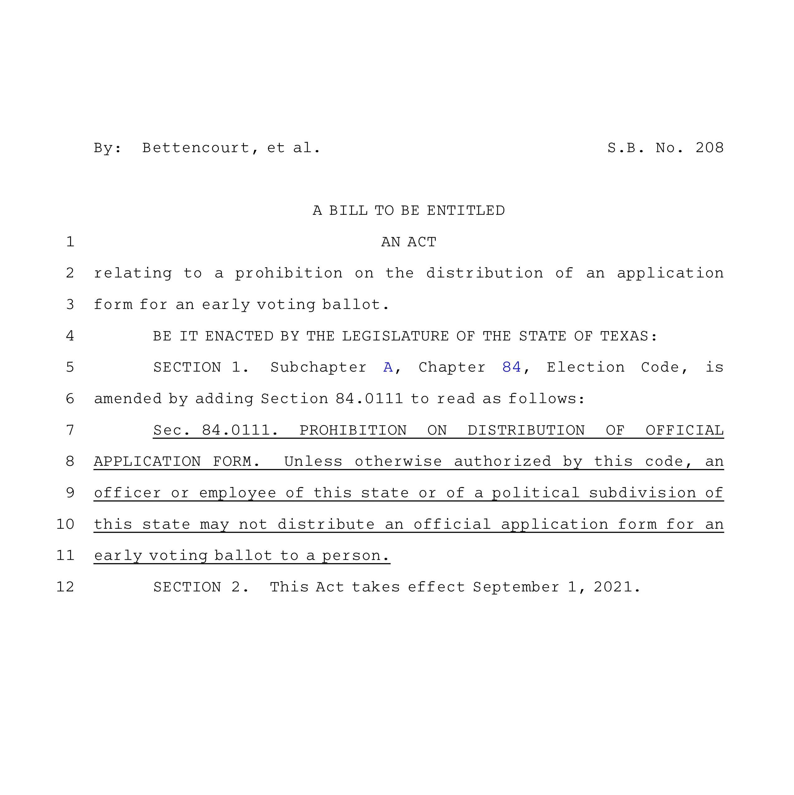 SB 208 – Ensuring Election Integrity