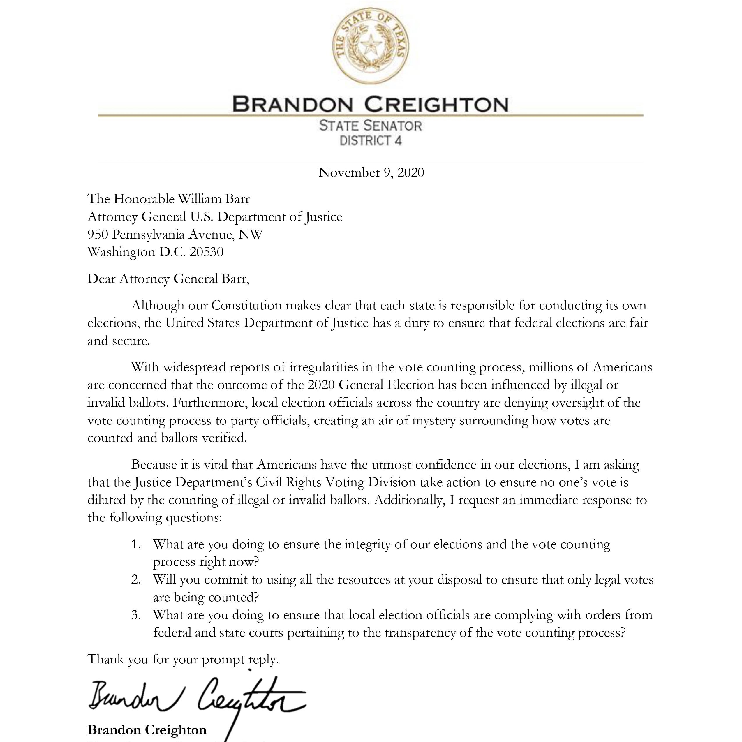 Senator Creighton's letter to Attorney General Barr