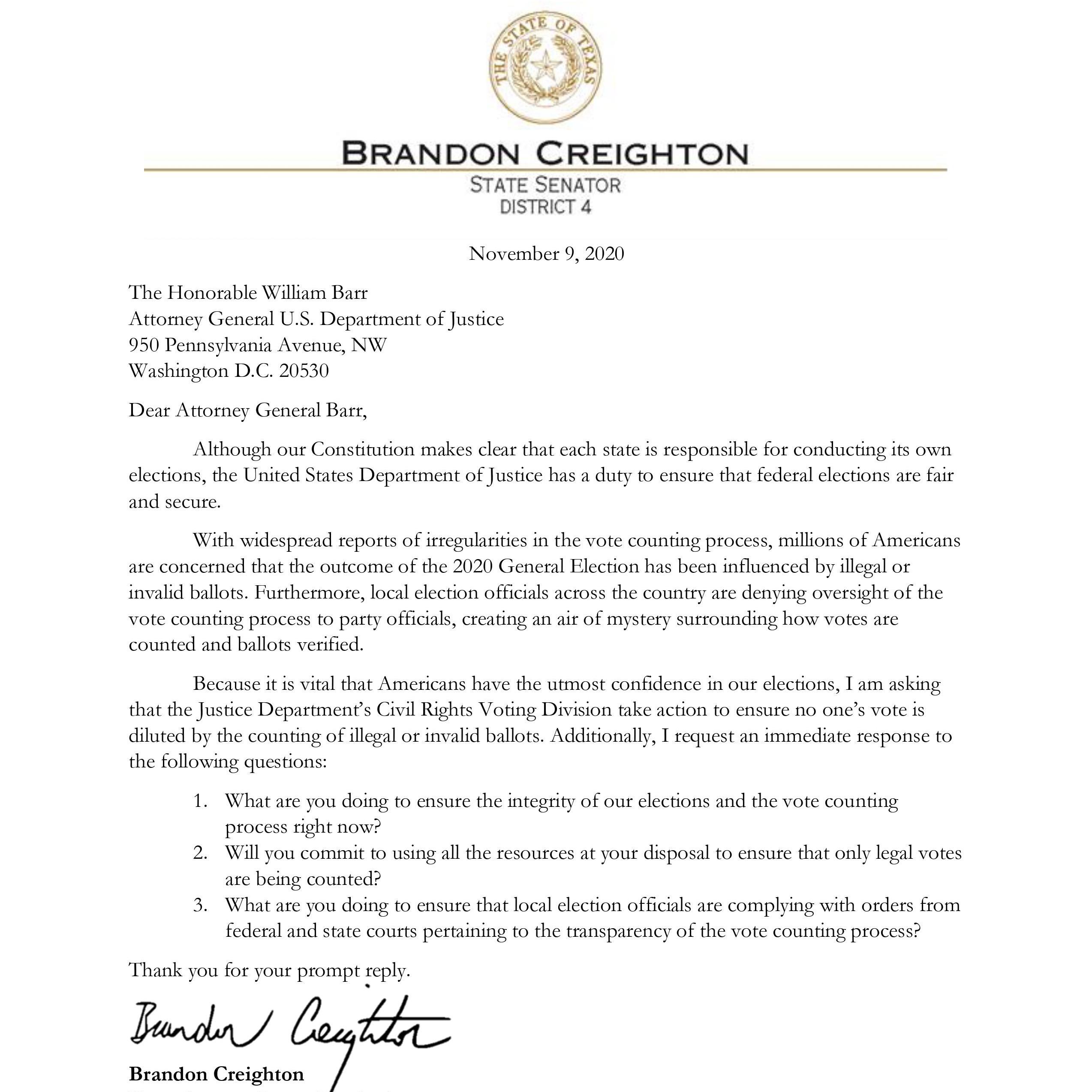 Senator Creighton's letter to Attorney General Barr
