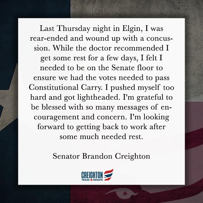 An Update from Senator Creighton