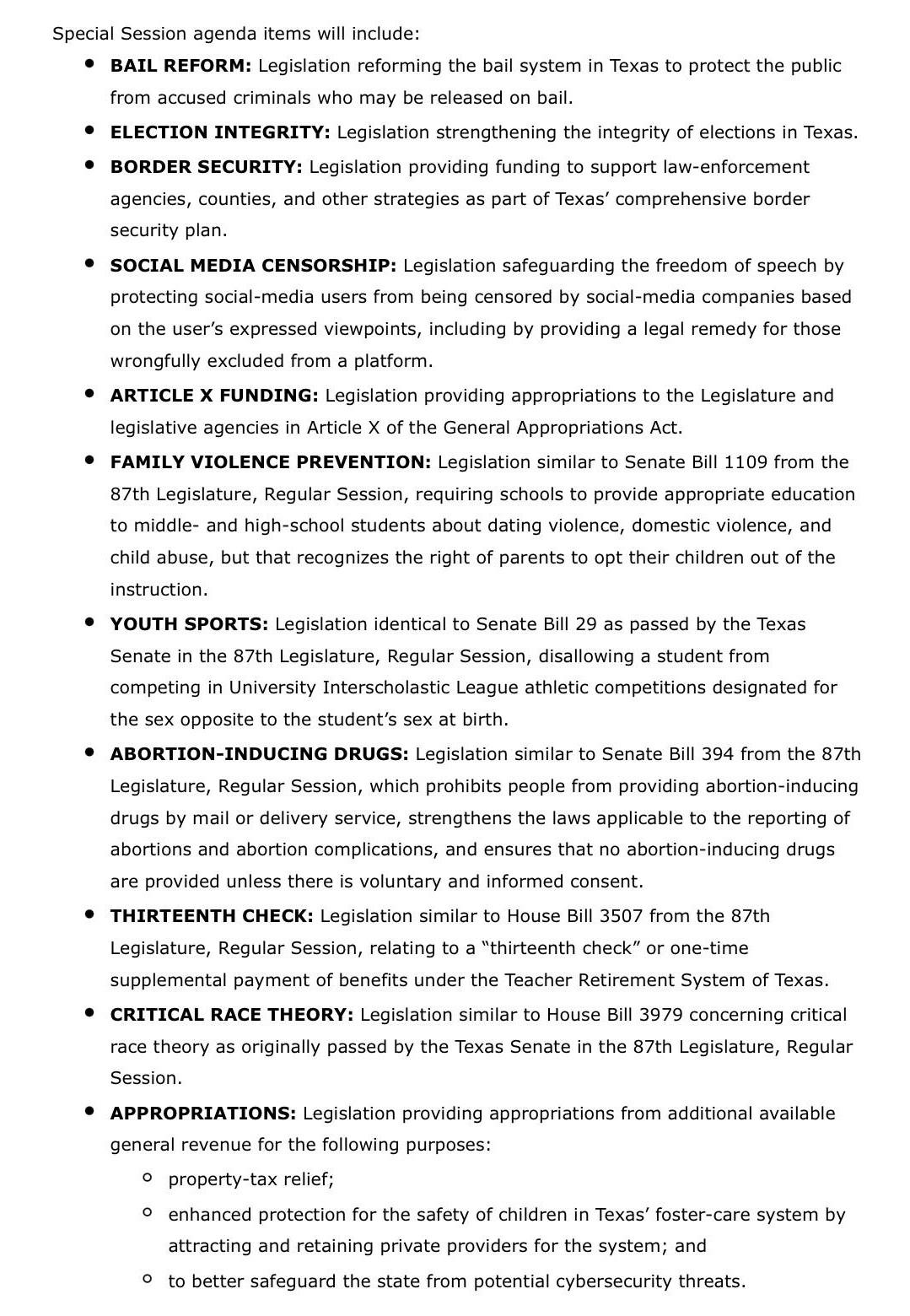 Special Session Agenda