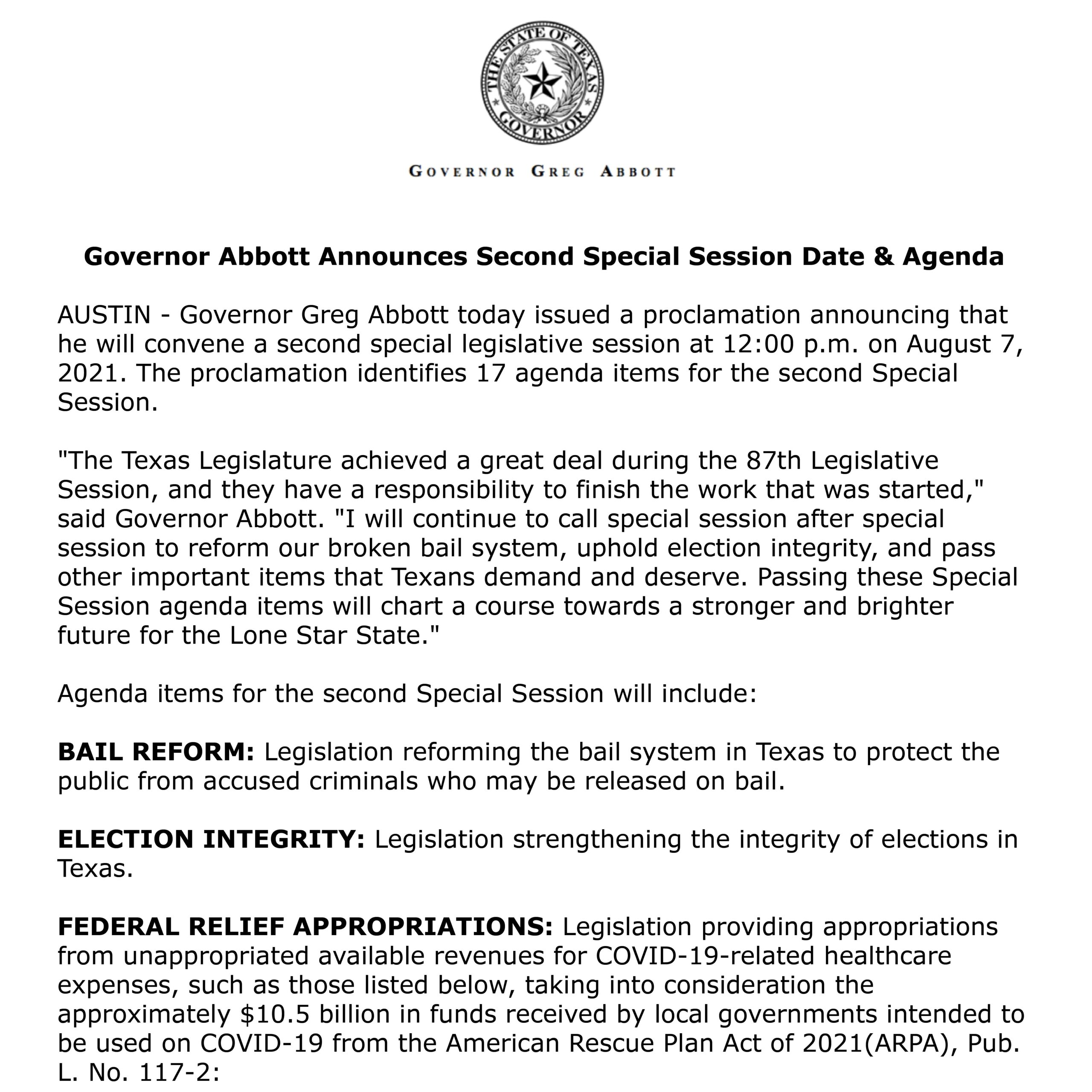 A Second Special Session