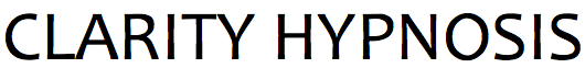 the words Clarity Hypnosis in a shadowy font in front of an image of water