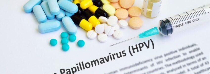 Pills for HPV and the definition of HPV paper under the white table