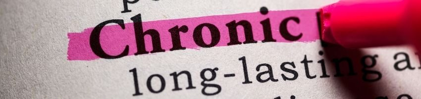 Chronic word underlined using pink marker