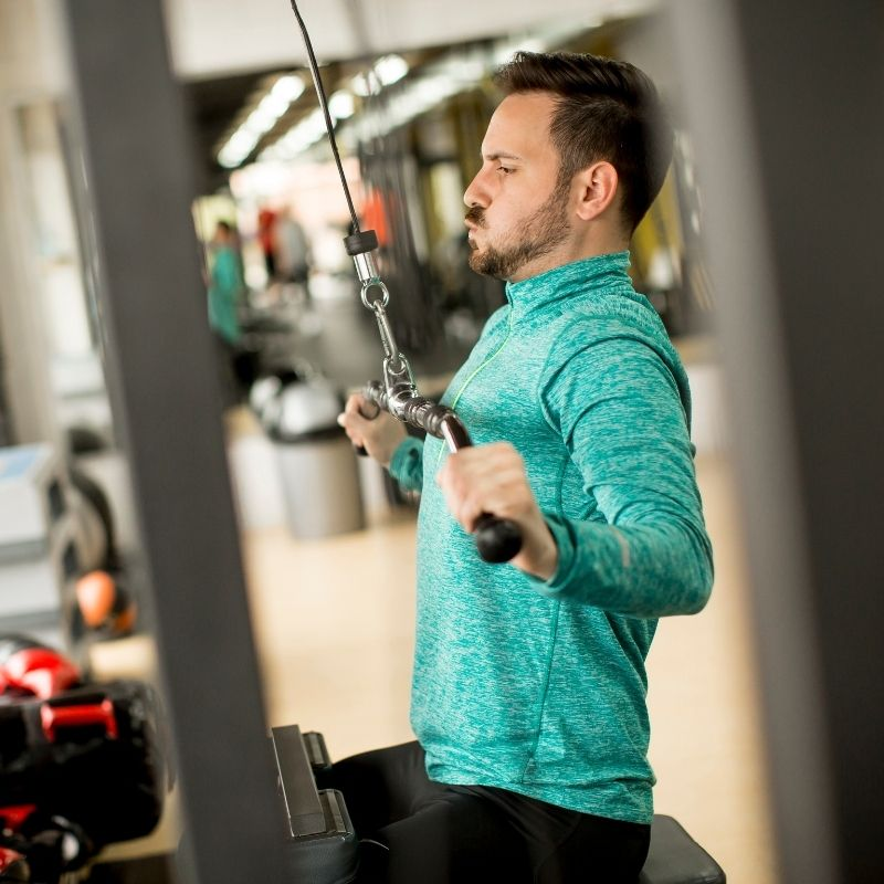 An athlete working out at the gym.