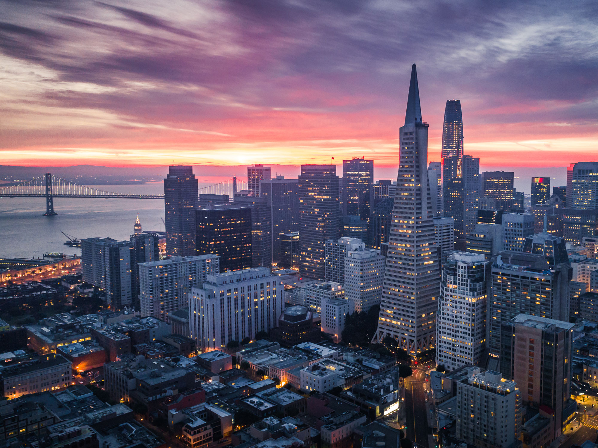 photo of San Francisco skyline at sunset