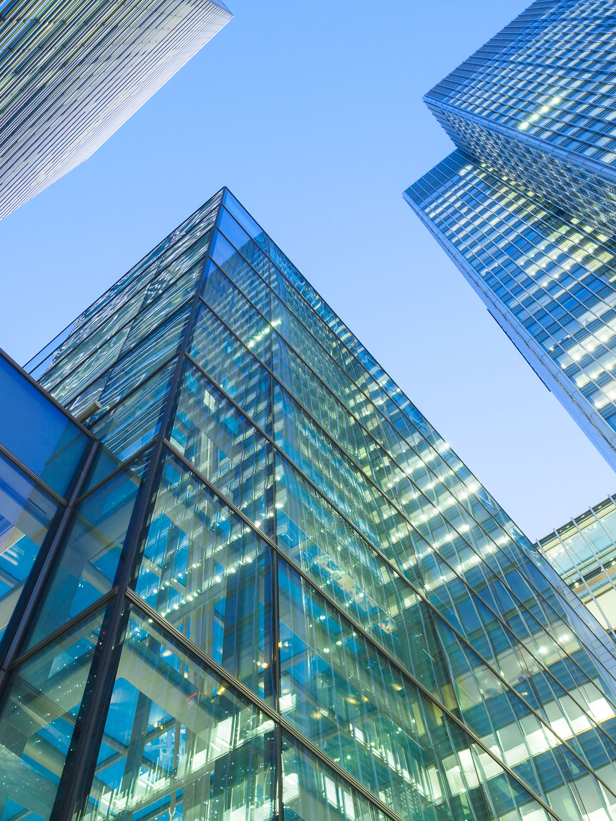 photo of modern glass office buildings