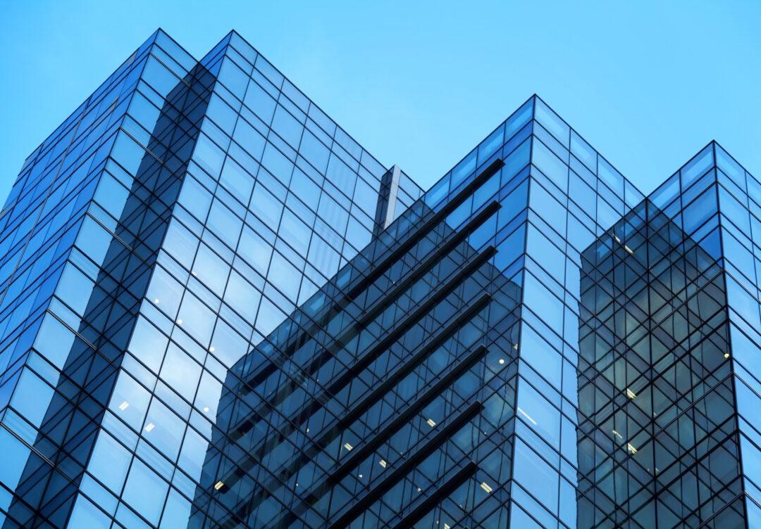 blue glass office building exterior