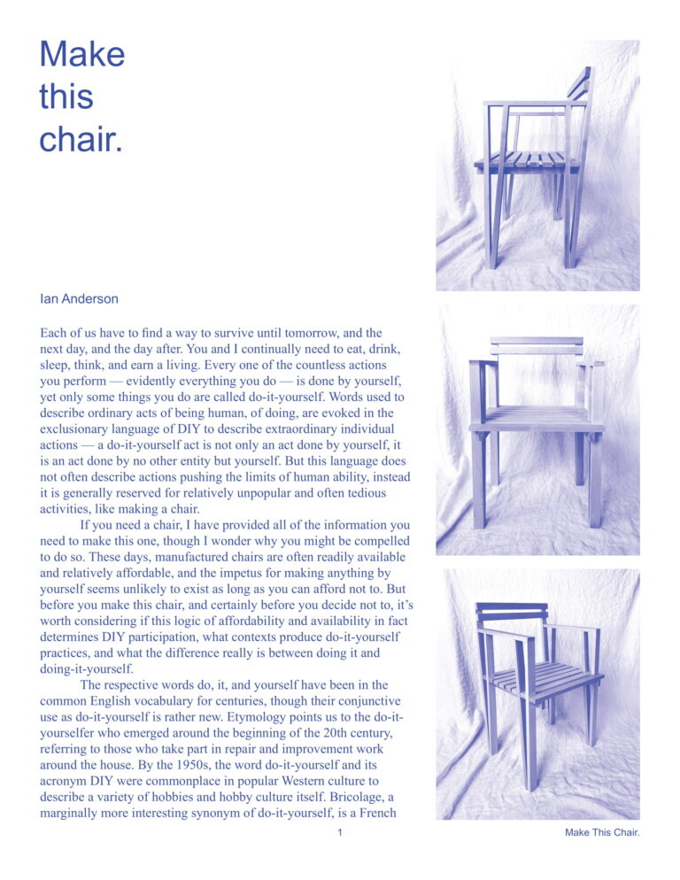 Ian Anderson Make this chair essay