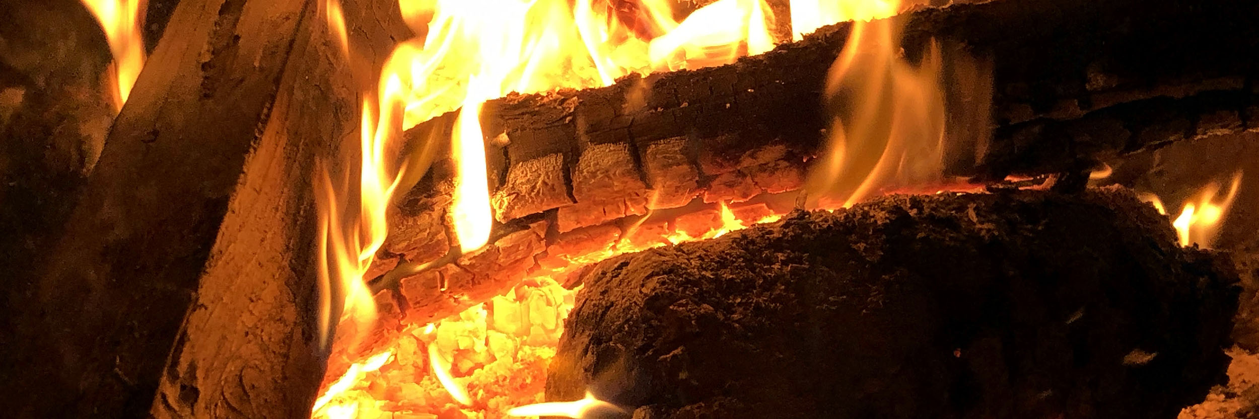 A fire burning wood