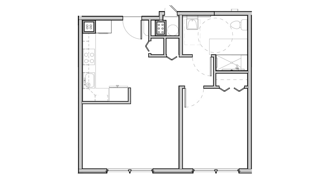Kitchen slightly separated from living space with a partial wall. Large windows in living room and bedroom. Three closets (kitchen, hall, bedroom).