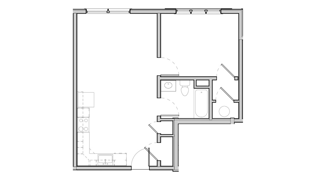 Open kitchen and living space, bedroom and bath on one side. Large windows. Two closets in living space and one in bedroom.