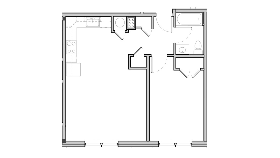 Open kitchen and living space. Two hall closets and one in bedroom.