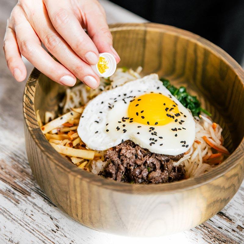Bimbap bowl with heart shaped egg