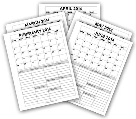 Printable Calendars January - December 2015