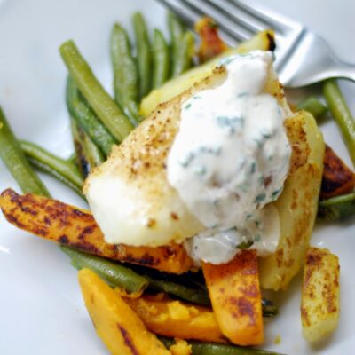Cod with Chive Mustard Sauce