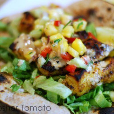 Fish Tacos, Chili Lime Mayo + Pineapple Salsa