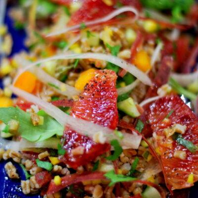 Wheatberry Salad with Blood Orange Poppy Dressing