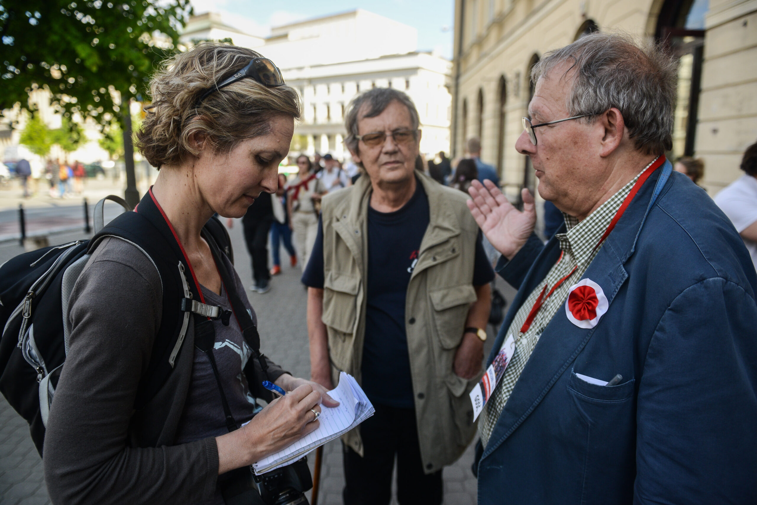I bumped into Polish democracy hero Adam Michnik on the street in Warsaw after a large pro-European rally on the street and decided to quickly interview him. Photo by Kuba Kaminski.