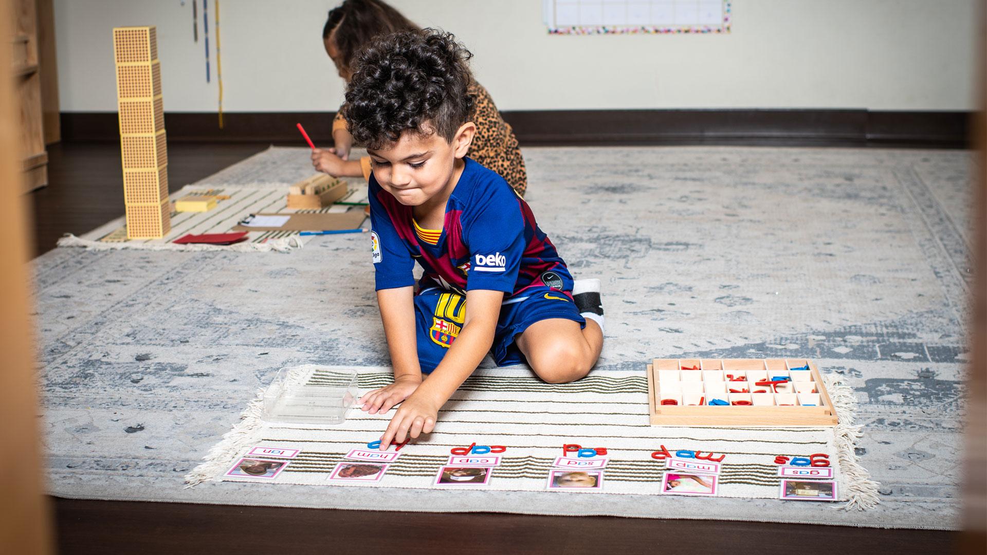 A little boy doing fun activities