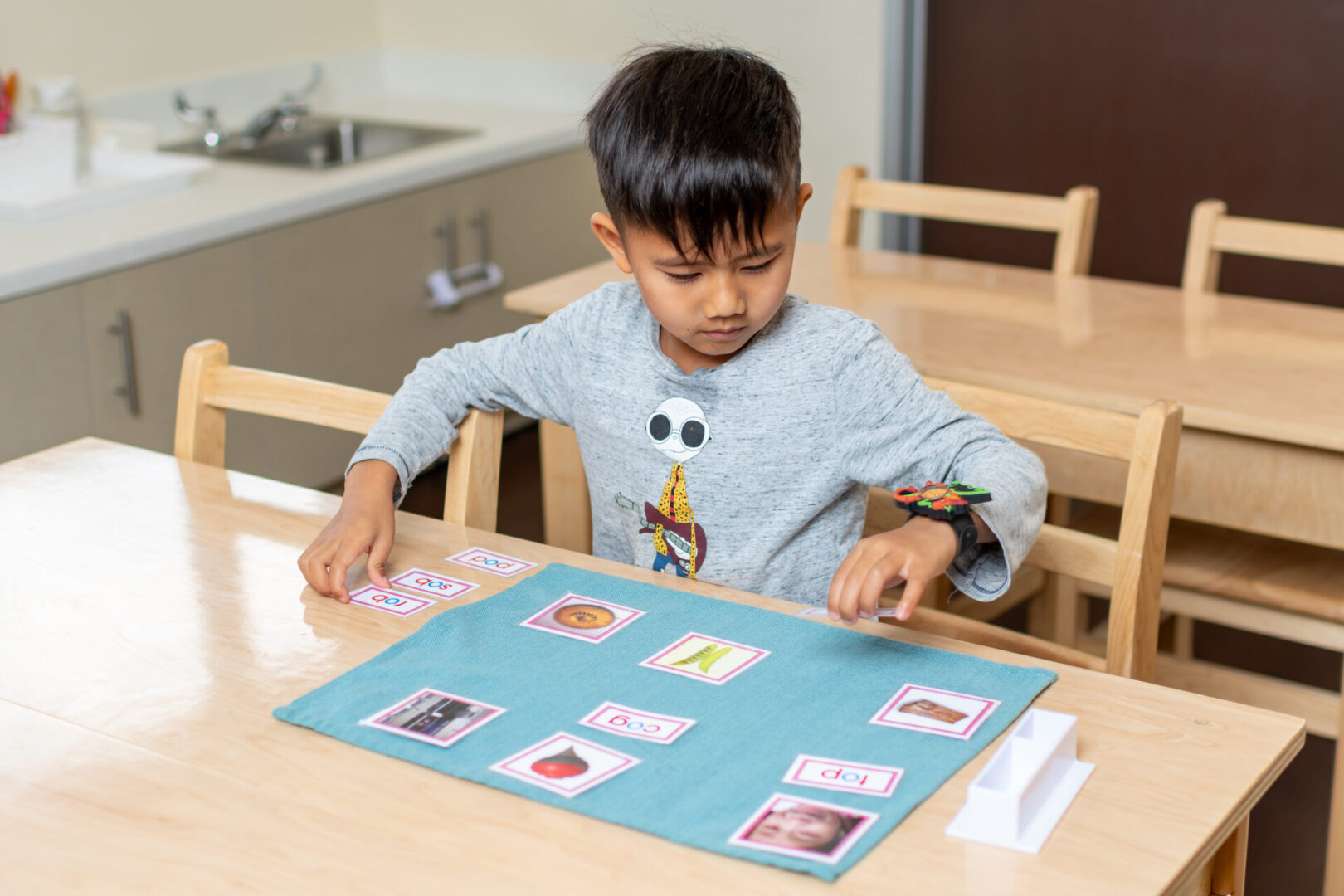 A boy playing with educational photocards
