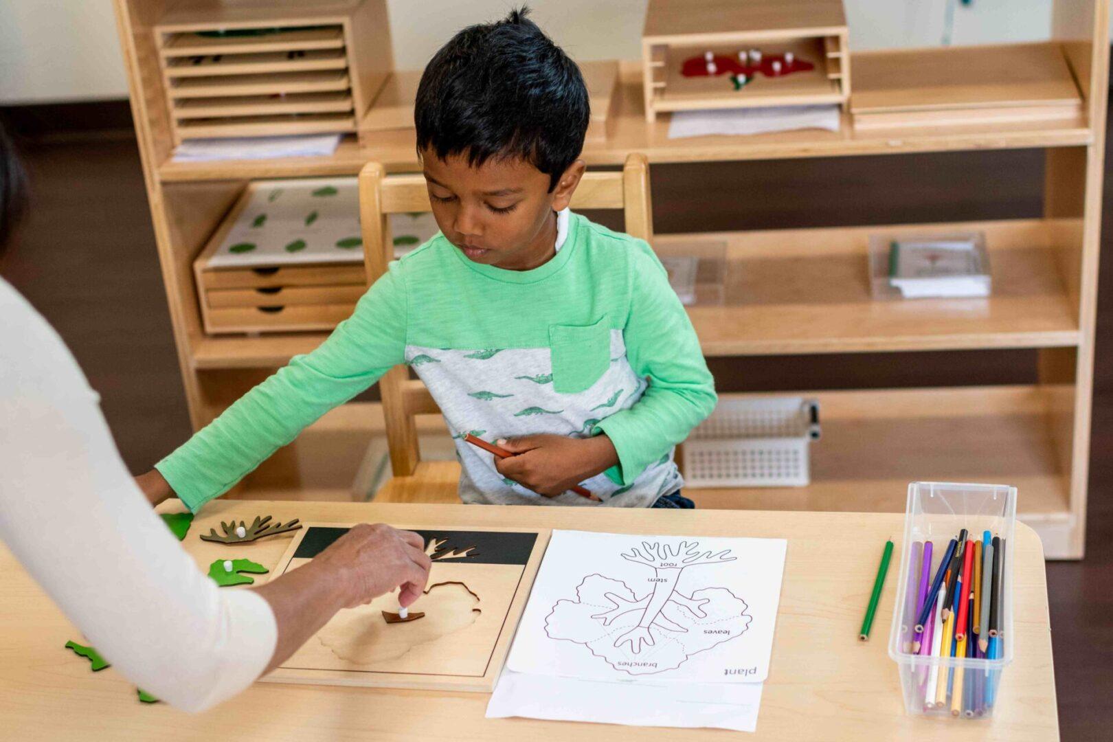 A little boy being guided by a teacher