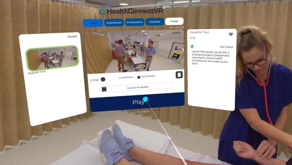 Custom VR & AR apps HealthConnectVR 360 Video experience