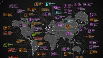 Este mapa muestra cuál es la canción más valiosa en cada país