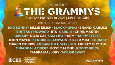 Estos son los artistas que se presentarán en la entrega de los Grammy 2021