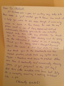 patient shares fertility story and sucessful outcome with the help of sd fertility acupuncture