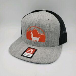 gray and black flat brim llama hat