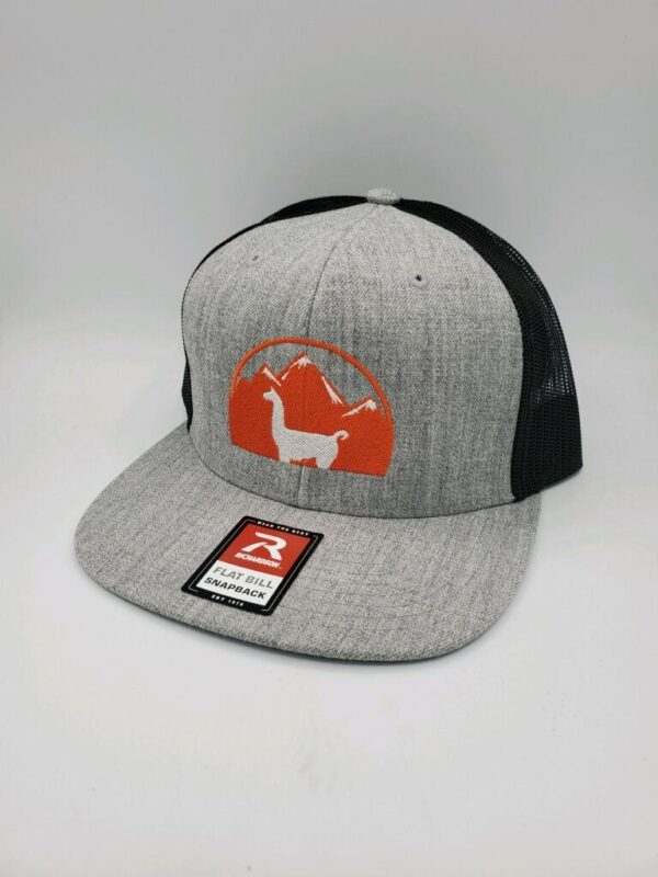 gray and black flat brim llama hat