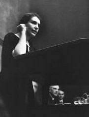 Anna Freud speaking from the stage at a Congress in Lucerne, 1934
