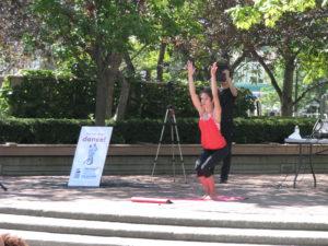 Charlotte Book teaching Yoga