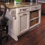 Traditional Rustic painted white island with granite top
