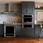 blue painted contemporary cabinets