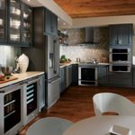 contemporary kitchen remodel painted cabinets, white countertops