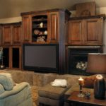 Wood cabinetry in the family room