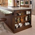 contemporary slab front cabinets with bookcase inset