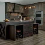 Rustic style kitchen cabinets with work stations