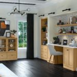 Waypoint Office Cabinetry in light tone wood