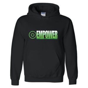 A black Empower Gaming Computers hoodie
