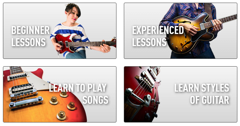 Quick and easy to find your guitar lessons inside guitar tricks website by use of images