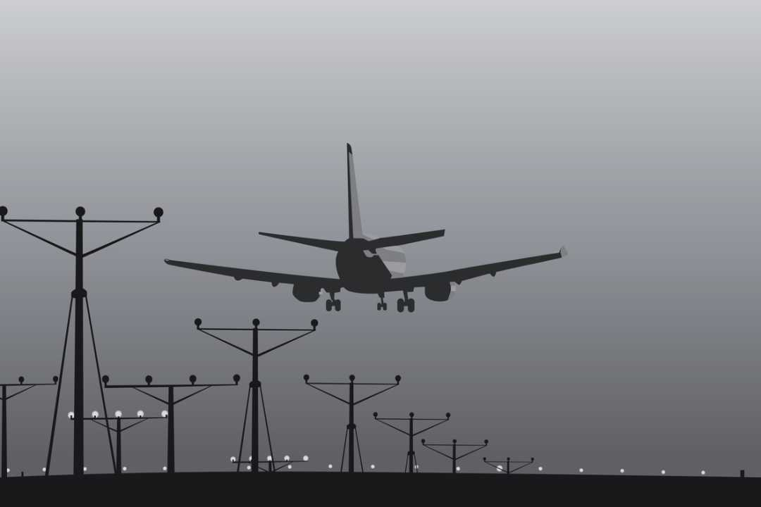 Illustration of airliner passing over approach lights