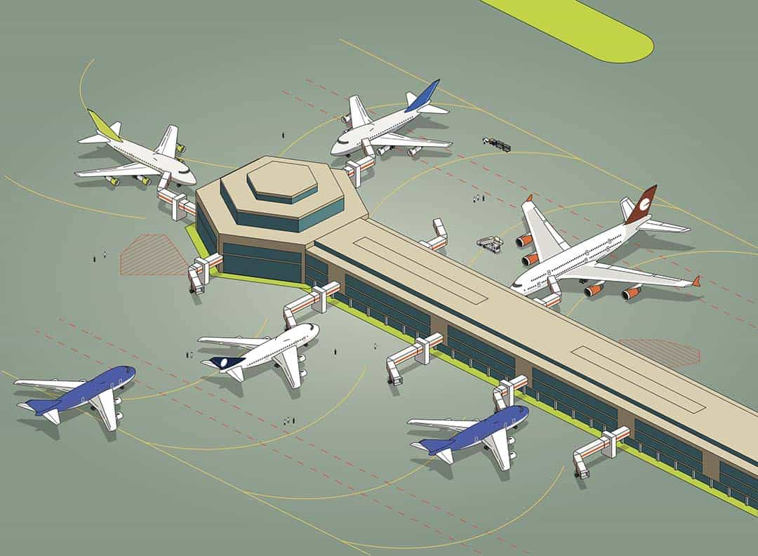 Illustrated aerial view of airline gates