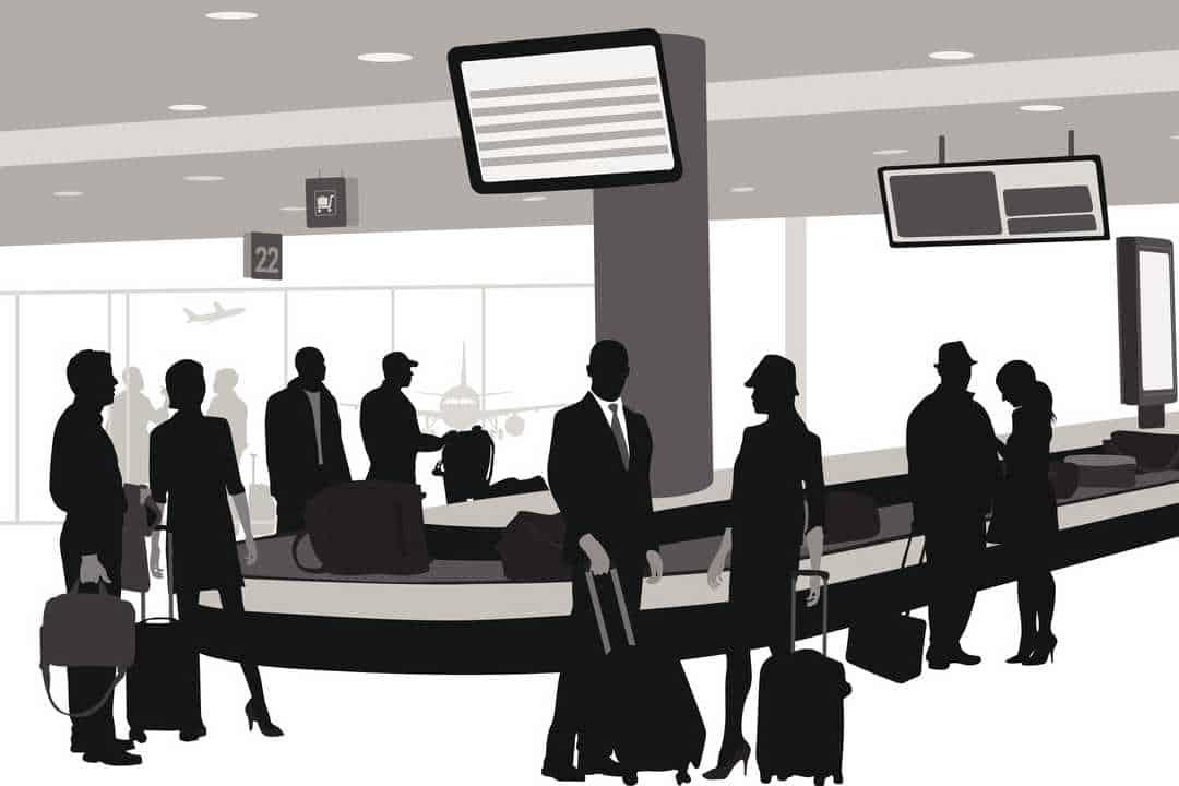 Illustration of passengers waiting to claim baggage