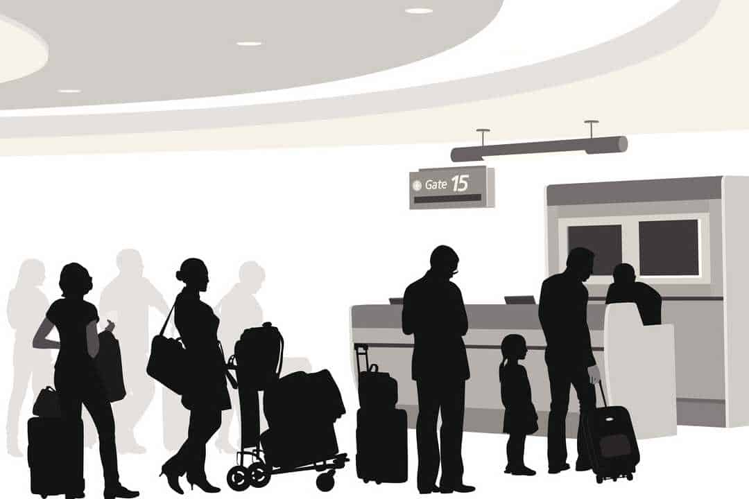Illustration of passengers in line to board aircraft