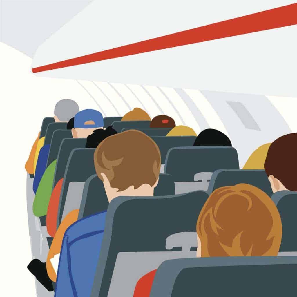 Illustration of passengers onboard an aircraft
