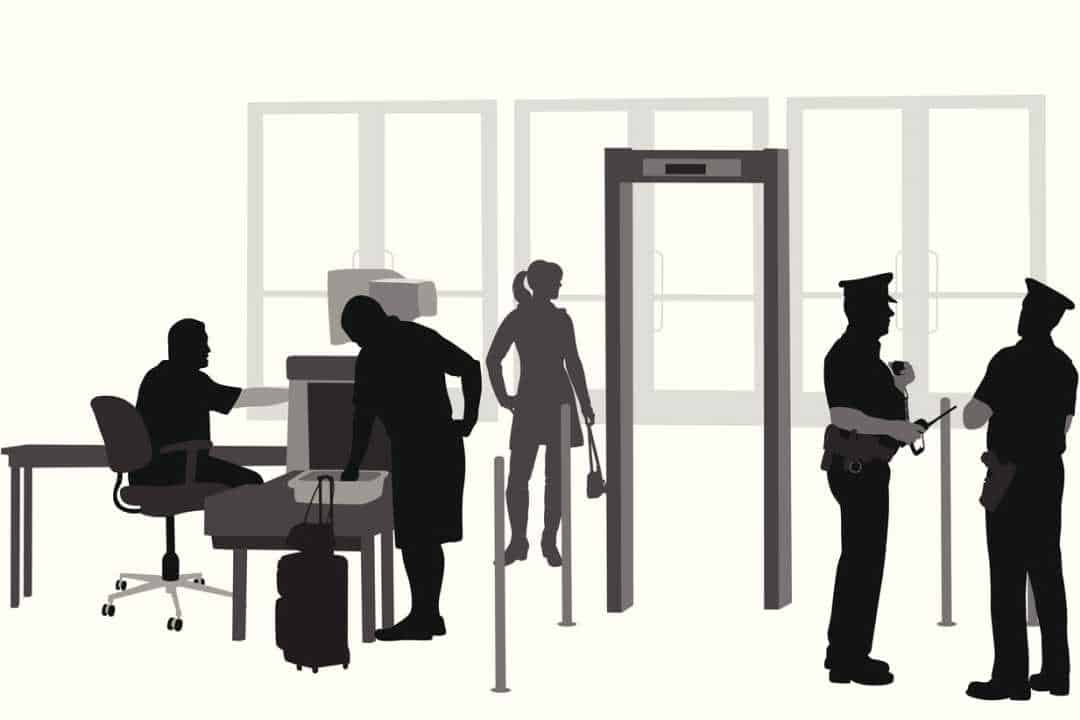 Illustration of an airport security checkpoint
